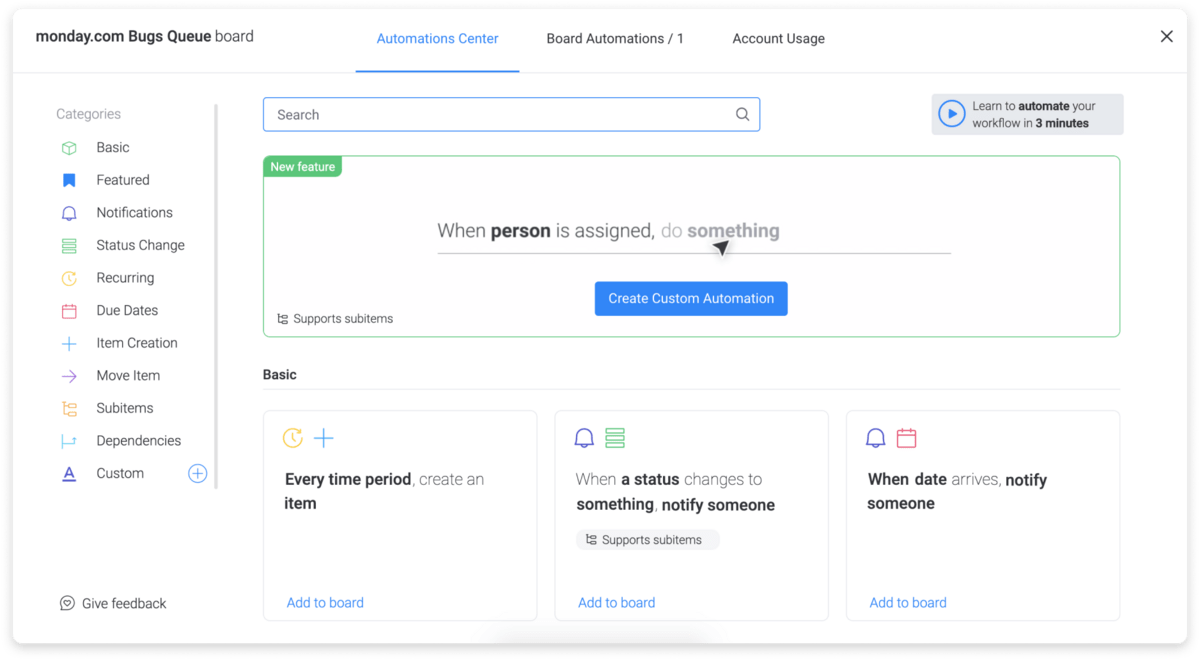 monday.com making it easy to create custom automations